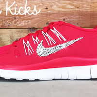 Women's Nike Free 5.0+ Running Shoes By Glitter Kicks - Hand Customized With Swarovski Crystal Rhinestones - Red/White