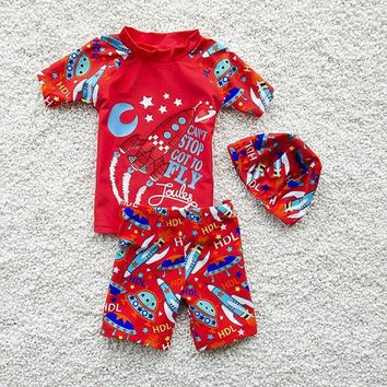 Swimsuit Kids Boy Swim Rocket Space Ship Print Child Swimwear Two-piece Separates Swimsuits Separate Bathing Suit Beach Wear