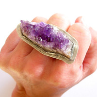 Amethyst Ring, Sterling Silver Ring, Raw Amethyst and Sterling Silver Statement Ring