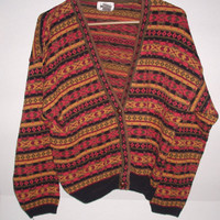 Vintage Abstract Colorful Patterned 90s Cosby Sweater