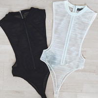 Striped Accent Mesh Swimsuit