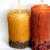 Organic Spice Rose Pillar - Autumn Centerpiece, Unique Gift, Thanksgiving Candle, Holiday Decor - Beeswax, Roses, Lavender, Cinnamon, Cloves