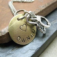 Owned Stamped Metal Handcuff Necklace, brass disc with silver plated chain, choose your own metal, BDSM inspired, BESTSELLER