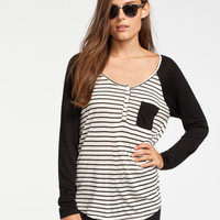 Volcom Block Womens Raglan Henley Black  In Sizes