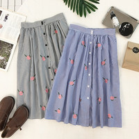 2017 New Women Spring Skirts High Waist Single Breasted Kawaii Skirts Rose Embroidery Midi Stripped Skirts SK379