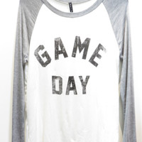 Game Day Graphic Baseball Tee -White