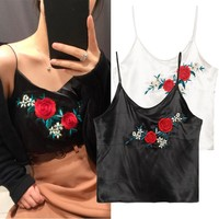 Bralette Beach Sexy Summer Hot Comfortable Stylish Sleeveless Vintage Floral Embroidery V-neck Spaghetti Strap Women's Vest [10472195331]