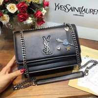 YSL BLACK HEART Women Shopping Leather tote Crossbody Satchel Shoulder Bag  H-MY-JDCHH