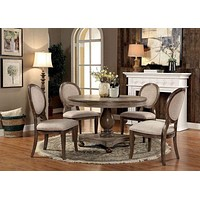 Fabric Upholstered Wooden Side Chair with Round Design Backrest, Set of 2, Brown and Beige By Casagear Home