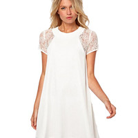 Loose Floral Lace Chiffon Women's Cocktail Party Homecoming Skater Swing Dress