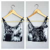 A Tie Dye Dreams Cutout Crop in Black and Grey