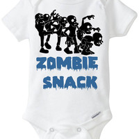 """Zombie Snack Baby Boy Gift: Gerber Onesuit bodysuit Halloween Costume - """"Zombie Snack"""" with group of Zombies Funny Onesuit Preemie Size Avl!"""