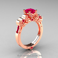 Classic Armenian 18K Rose Gold 1.0 Ct Princess Rose Rubies Solitaire Wedding Ring R608-18KRGRR