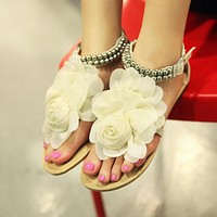 Flower Flats Sandals Women Beads Beach Shoes Woman