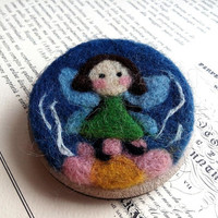 Fairy brooch, spring needle felted big pin, ooak fairy on a flower brooch, felted image on a wooden base.
