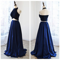 Halter Backless Two Piece Prom Dresses
