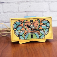 RARE Vintage 60s Peter Max Psychedelic Yellow Butterfly Snooze Alarm Clock by General Electric #7270