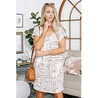 A Natural Beauty Taupe Tie Dye Midi Dress