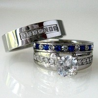 His and Hers Blue Sapphire CZ Engagement Ring Wedding Band Set Men's Women's New