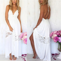 Sexy Women Maxi Long Lace Cocktail Evening Summer Beach Backless Ball Gown Dress = 5738149185