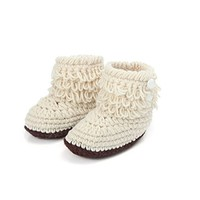 Dealzip Inc® Unisex Boy Girl Baby Newborn Infant Hand Knitting Crochet Beige Tassel Buckle Shoes Socks Boots