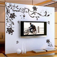 [Fundecor] black butterfly flower vine wall stickers home decor bedroom living room wall background decorative decals