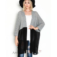 Grey Sheer Mesh Hem Open Front Cardigan