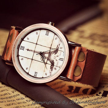 Ladies Leather Watch Eiffel Tower (WAT0013)