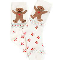 FOREVER 21 Embroidered Gingerbread Man Socks Cream/Red One