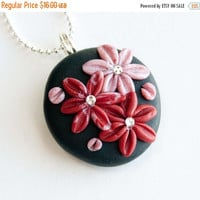 Christmas Sale Red and Rose Pink Flower Polymer Clay Necklace, Swarovski Crystal, Gifts under 20