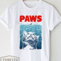 cat meow paws jaws T-shirt Unisex Adult Men And Women Size