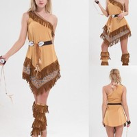 Free PP girl indian pocahontas costume indian princess pocahontas fancy dress halloween costume for women