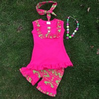 Pink and Green Aztec Short Set