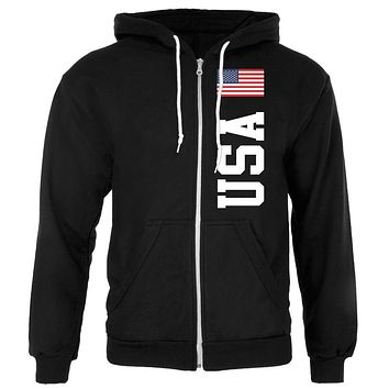 USA Mens Zip Hoodie with Front Pockets