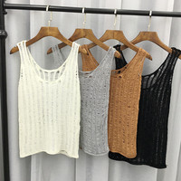 Knit Hollow Out Holes Tank Top Women Summer Sexy Knitted Sleeveless Crochet Camisole Tops Gimnasio Mujeres Brandy Melville