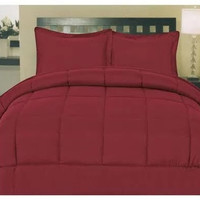 ComfortLiving Down Alternative 5 Piece Embossed Comforter Set - Burgundy (Queen)