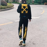 """OFF-WHITE"" Women Casual Personality Letter Print Long Sleeve  Trousers Set Two-Piece Sportswear"