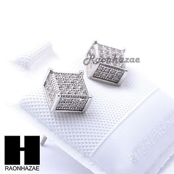 Sterling Silver .925 Lab Diamond 6mm Square Screw Back Earring SE029S