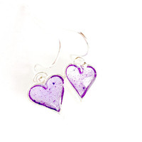 Purple Heart Resin Earrings