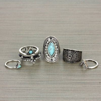 Five Piece Silver Ring Set