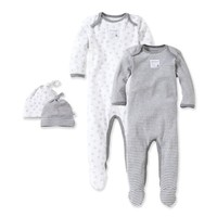 Burt's Bees Baby® Grey & Bee 2-Pack Footie Pajama with Hat in Grey