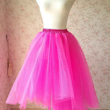 Fuchsia Tulle Skirt. Fashion Tulle Skirt. Irregular Long Tulle Skirt. Lady Adult Tutu. Prom Skirt. Photo Prop. Elastic. Plus Size(T2816)