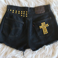 High Waisted Black Shorts with Studded Cross Detail