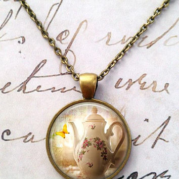 Tea Time Necklace, Steampunk, Alice in Wonderland, Mad Hatter, Once Upon a Time T49