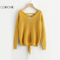 COLROVIE Boho Lace Up Back Sweater Women Mustard Long Sleeve Casual Jumper Fall 2017 Fashion Vintage Cut V Neck Loose Sweater