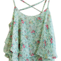 ROMWE Crossed Straps Layered Floral Print Green Vest