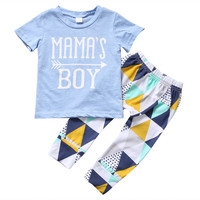 2017 summer fashion baby boy clothes cotton letter  printing gray T-shirt+pants 2pcs newborn baby clothing set Outfits