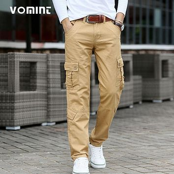VOMINT 2017 New Mens Casual Cargo Business Pant Cotton Trousers Regular Straight Mutil Pockets Military Funtional Size 42 44 46