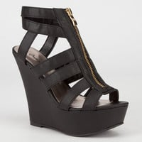 Qupid Finder Womens Wedges Black  In Sizes