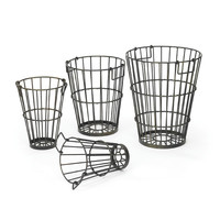 """Eclipse Home Collection Set of Four Croppers Baskets Small: 12"""" H x 8.25"""" Dia. · Medium: 13"""" H x 10"""" Dia. · Large: 15"""" H x 12.5"""" Dia. · Largest measurements: 15.5"""" Dia x 19"""" H"""